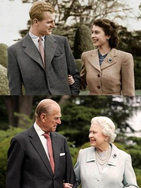 The Queen and Prince Philip then and npw