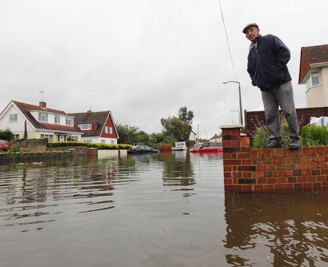 A flooded road in Felpham