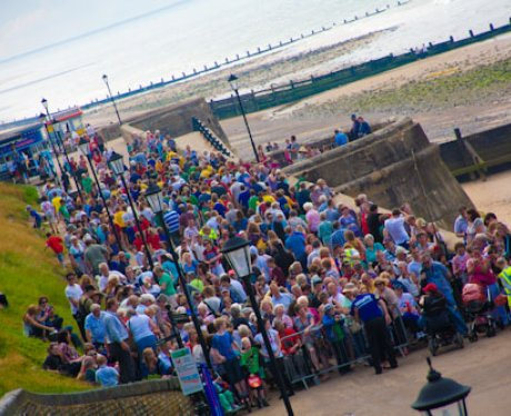 Crowds in Cromer to see the Olympic Torch