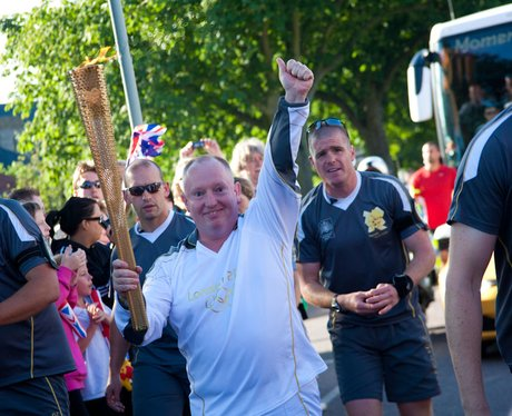 Heart's Gary Stevens with the Torch in Norwich