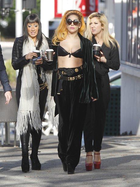 Lady Gaga in Bra holding Coffee Cup