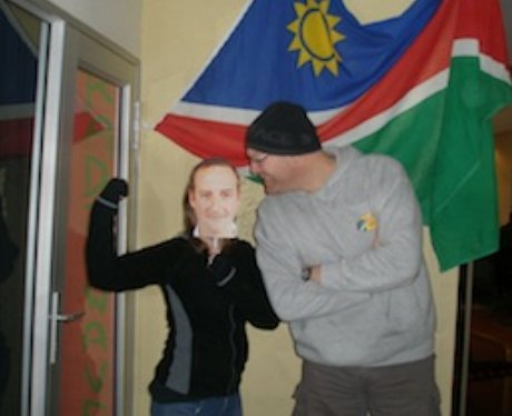 RadioWave in Nambia with the James & Charlie masks