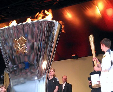 Olympic torch on Bournemouth beach
