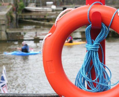 Kayaks float through Bristol Harbour