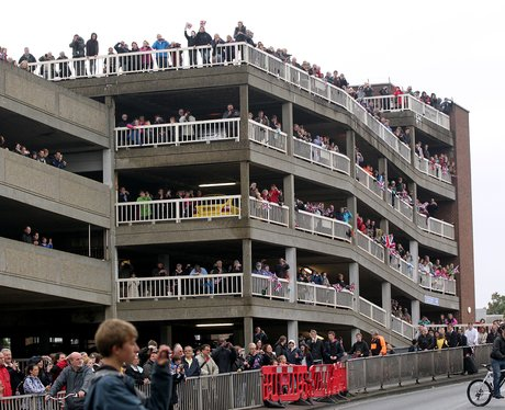 Crowds in the car park