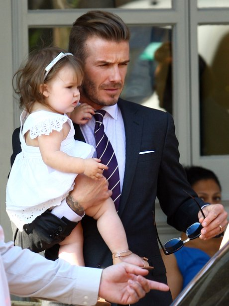 David Beckham and Harper Beckham in Notting Hill.