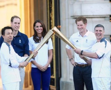Prince William, Kate Middleton and Prince Harry  with the olympic torch