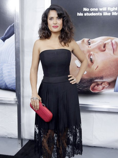 Salma Hayek in a black dress