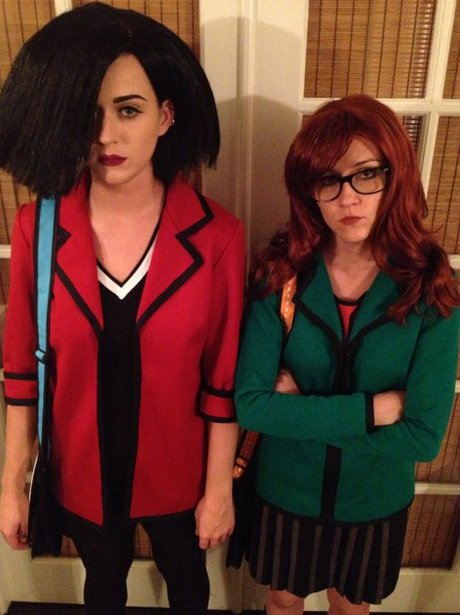 Katy Perry and friend dressed as characters from daria