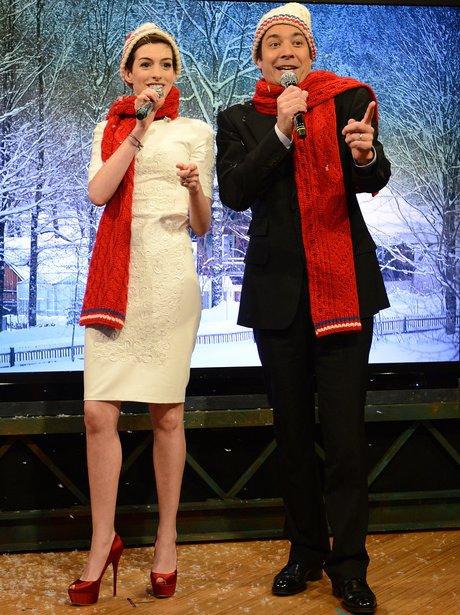 Anne Hathaway on Jimmy Fallon singing