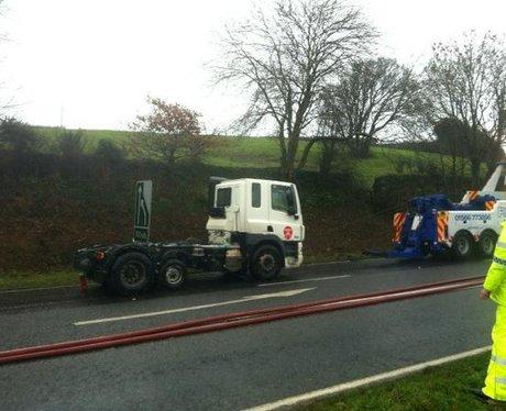 Towing cab of tanker away