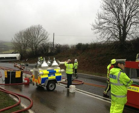 Police and Fire at the scene on A38