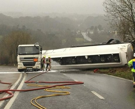 Emergency services dealing with tanker