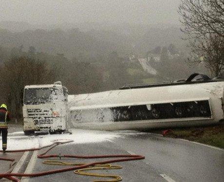 Foam on overturned tanker A38