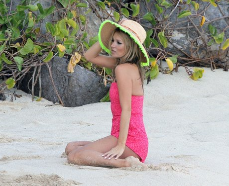 Kate Moss poses for a photo shoot in St.Barts