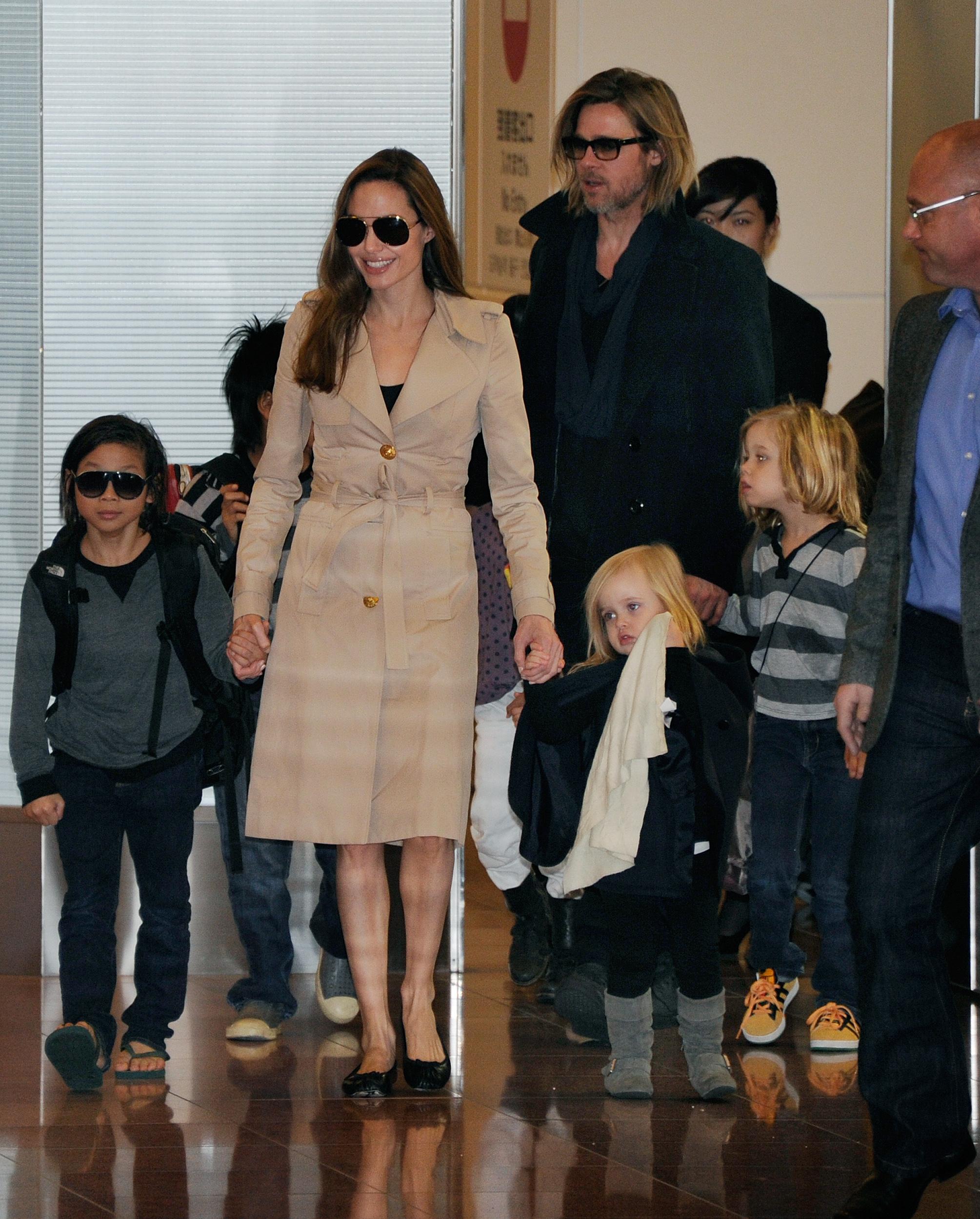 Brad Pitt and Angelina Jolie with children