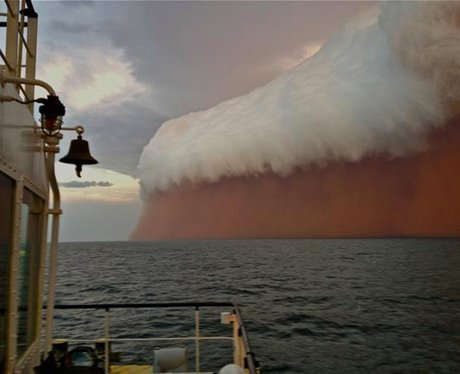 Dust storm seen off the coast of Australia