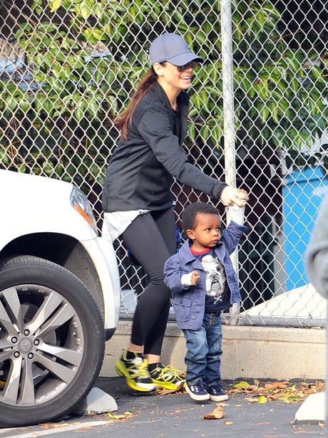 Sandra Bullock with her son Louis