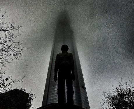 Statue in front of the London Shard