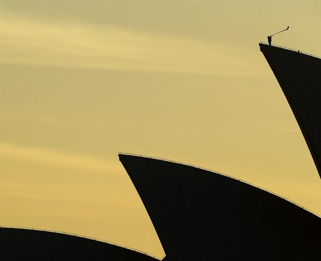 Alphornist performs on Opera House sails