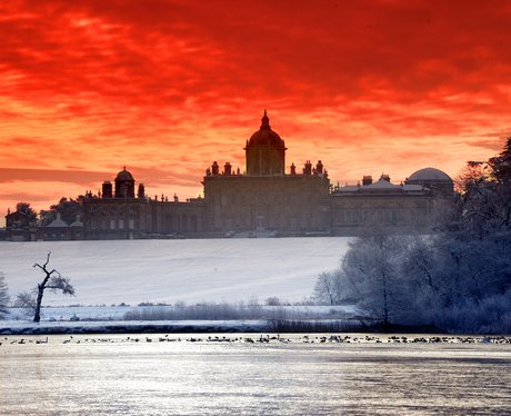 Castle Howard in the snow at sunrise