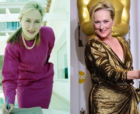 A young Meryl Streep and Meryl Streep at 63