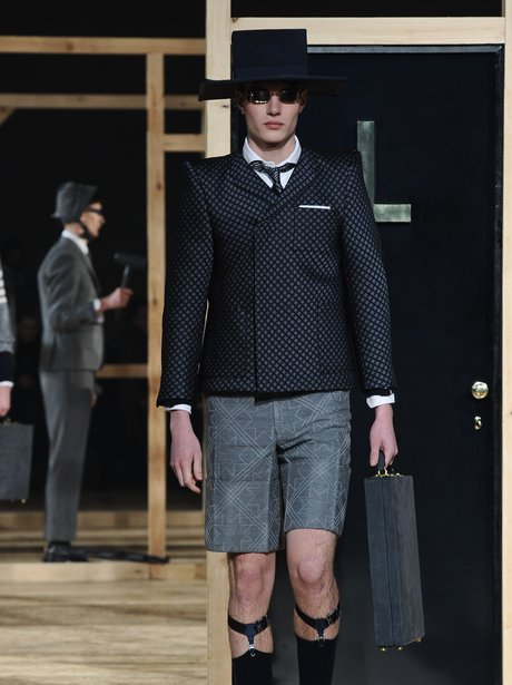 Model on the catwalk at Thom Browne