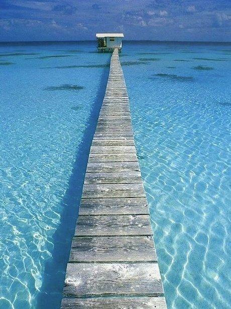Blue sea footpath