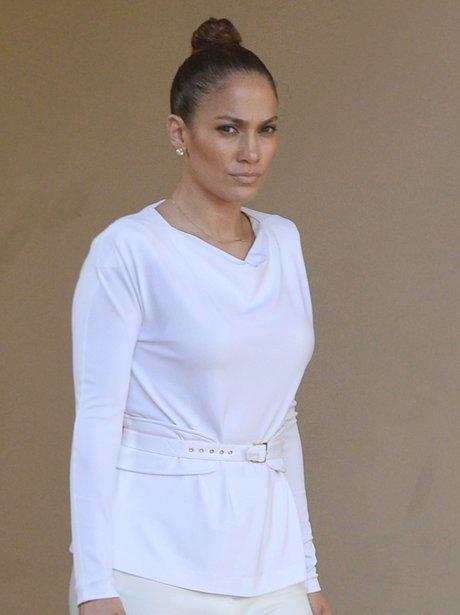Jennifer Lopez wearing a top knot