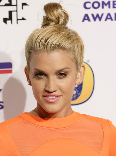 Ashley Roberts wearing a top knot