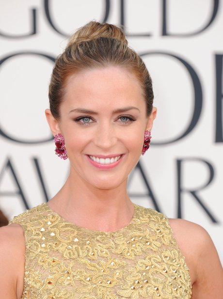 Emily Blunt wearing a top knot
