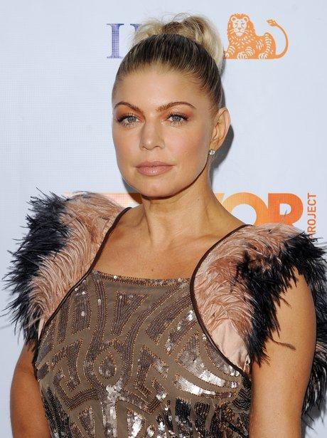 Fergie wearing a top knot