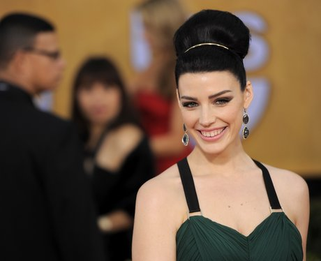 Jessica Pare wearing a top knot