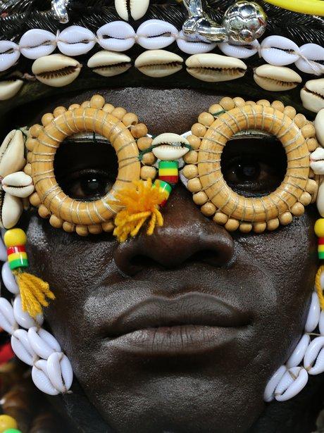 A Burkina Faso soccer fan
