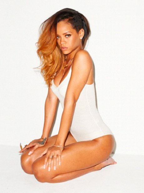 Rihanna in a white swimsuit