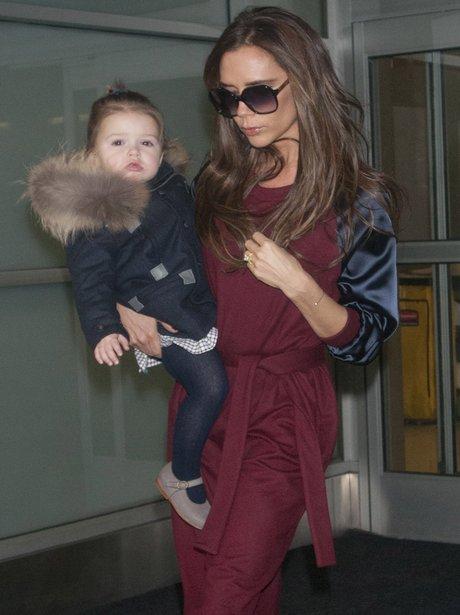 Victoria Beckham and Harper at JFK Airport