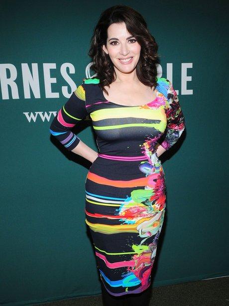 Nigella Lawson in multicoloured striped dress