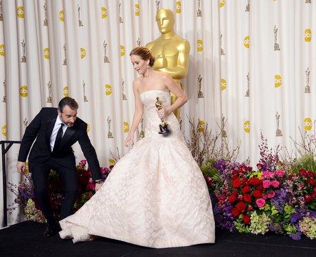 Jean Dujardin and Jennifer Lawrence Oscars 2013