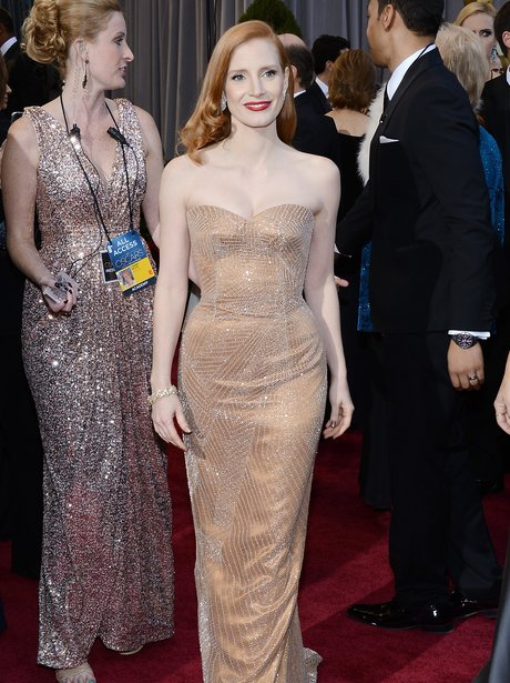Jessica Chastain attends the Oscars 2013 red carpe