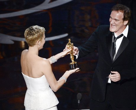 Quentin Tarantino and Charlize Theron at the Oscar