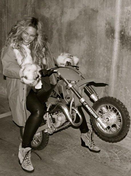Beyonce on a bike