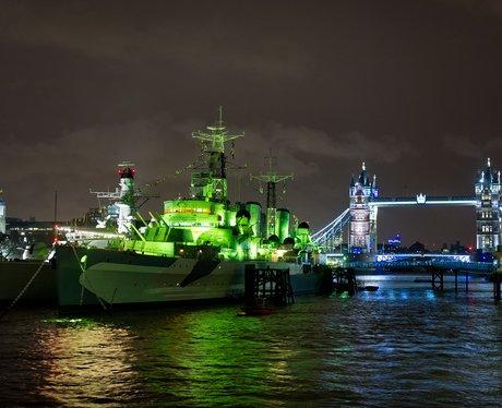 HMS Belfast on St Patrick's Day
