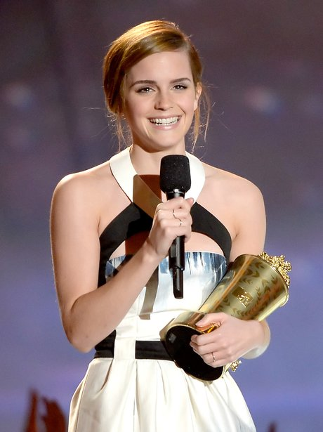 Emma Watson on stage at the MTV movie awards