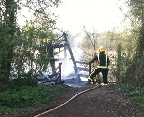 Walton Lake Birdwatching Hide on fire
