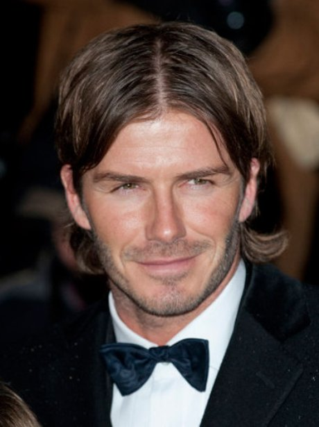 David Beckham wears tuxedo and centre parting