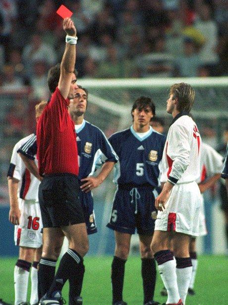 David Beckham sent off World Cup