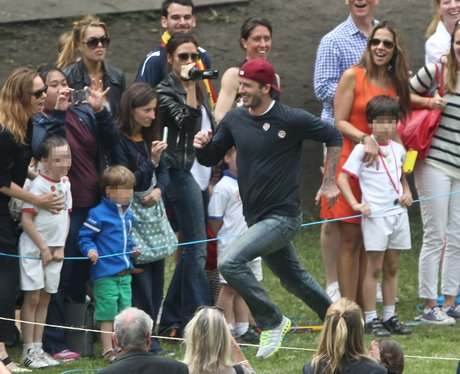 David and Victoria Beckham attend sports day