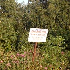 Danger sign at Bawsey Pitt in Kings Lynn