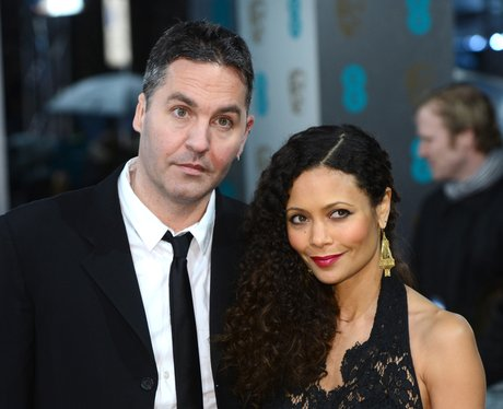 Thandie Newton and Ol Parker on the red carpet.