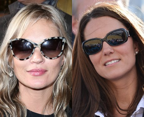 Kate Moss and Kate Middleton wearing sunglasses